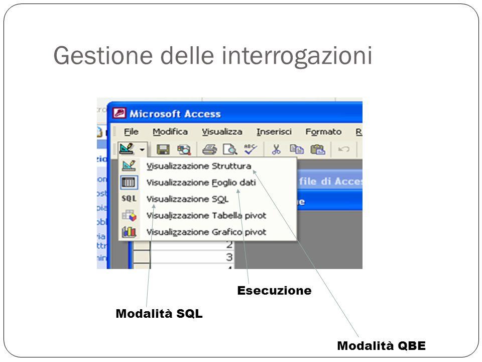 Gestione delle interrogazioni 31 Modalità SQL Esecuzione Modalità QBE