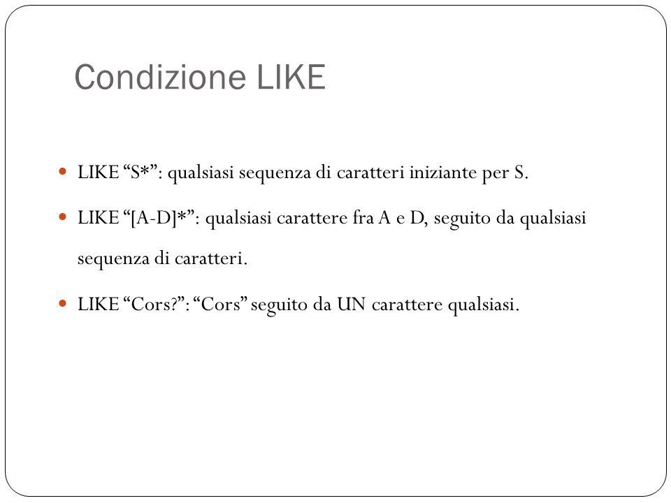 Condizione LIKE 33 LIKE S*: qualsiasi sequenza di caratteri iniziante per S.