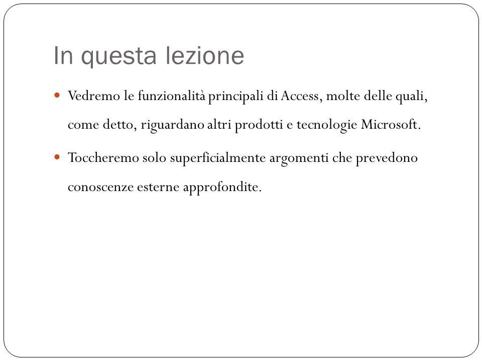 Lambiente Access Per selezionare gli strumenti di lavoro, utilizzare la voce Visualizza, Barra degli strumenti.