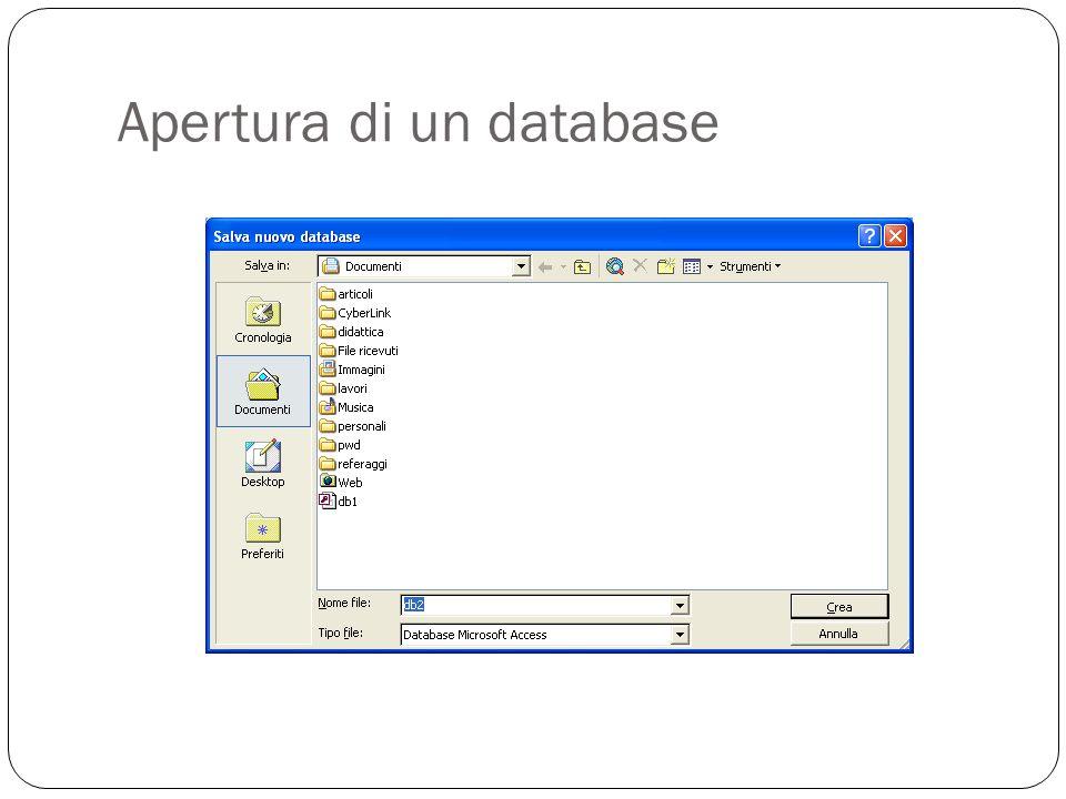 Apertura di un database 9