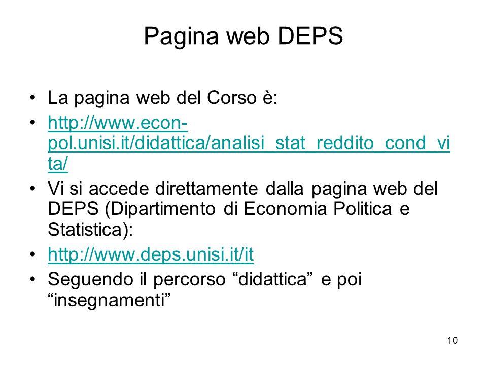 10 Pagina web DEPS La pagina web del Corso è: http://www.econ- pol.unisi.it/didattica/analisi_stat_reddito_cond_vi ta/http://www.econ- pol.unisi.it/di