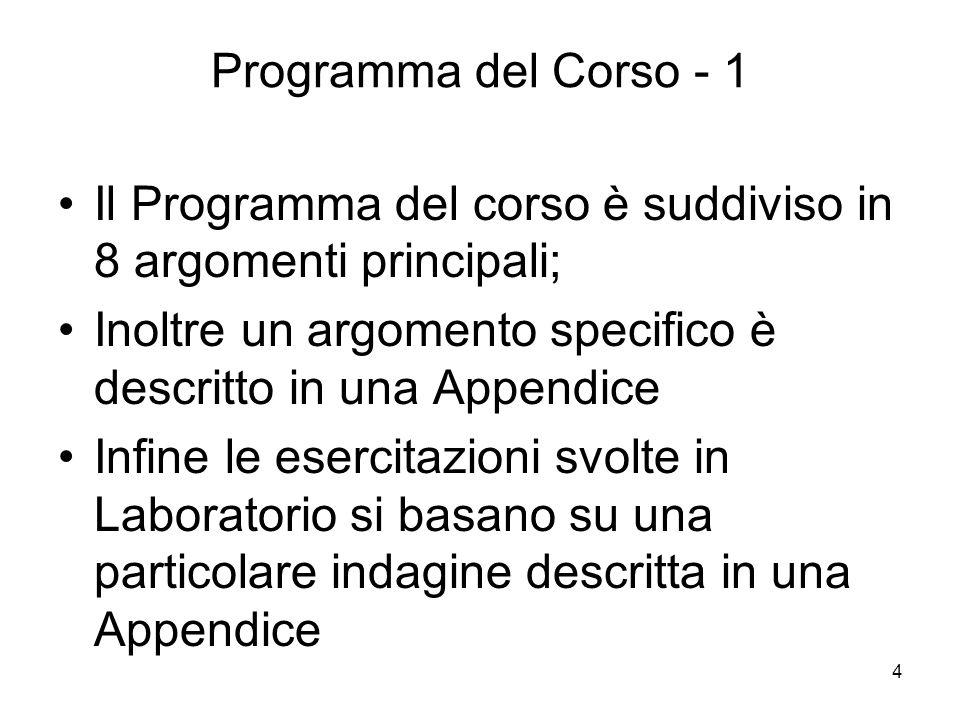 4 Programma del Corso - 1 Il Programma del corso è suddiviso in 8 argomenti principali; Inoltre un argomento specifico è descritto in una Appendice In