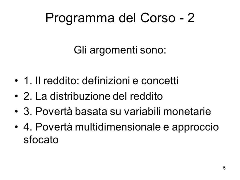 5 Programma del Corso - 2 Gli argomenti sono: 1. Il reddito: definizioni e concetti 2. La distribuzione del reddito 3. Povertà basata su variabili mon