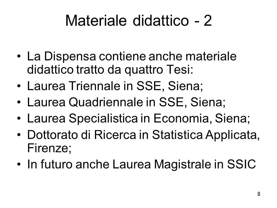 8 Materiale didattico - 2 La Dispensa contiene anche materiale didattico tratto da quattro Tesi: Laurea Triennale in SSE, Siena; Laurea Quadriennale i