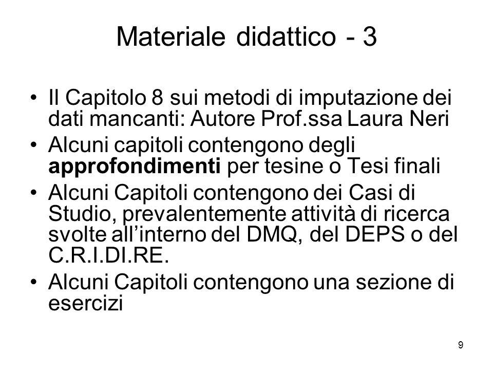 9 Materiale didattico - 3 Il Capitolo 8 sui metodi di imputazione dei dati mancanti: Autore Prof.ssa Laura Neri Alcuni capitoli contengono degli appro