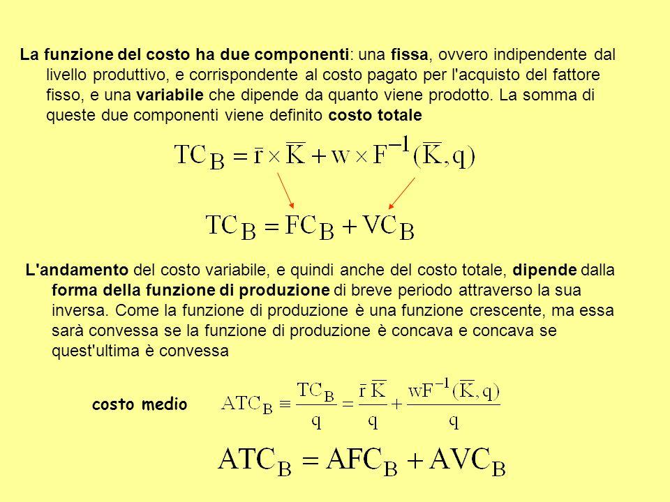 La funzione del costo ha due componenti: una fissa, ovvero indipendente dal livello produttivo, e corrispondente al costo pagato per l'acquisto del fa