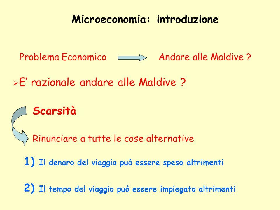 Microeconomia: introduzione ObiettivoMassimizzare la Felicità F (M, Y-Pm) M = viaggio alle Maldive Y = quantità di moneta a disposizione del soggetto Pm = prezzo del viaggio Felicità se si parte Felicità se non si parte F (S, Y) S = si rimane a Siena