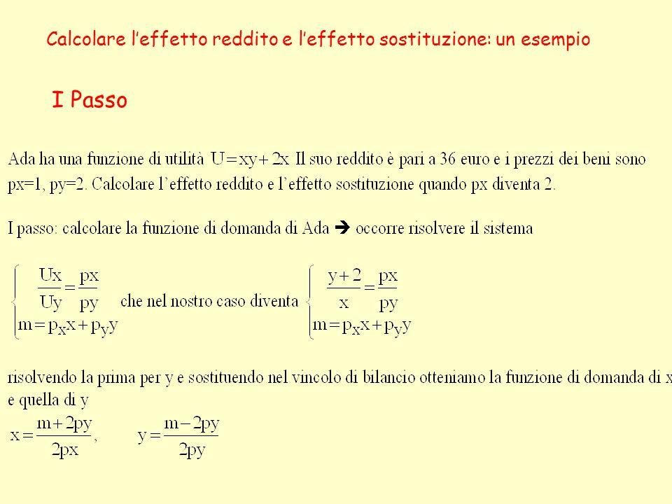 Calcolare leffetto reddito e leffetto sostituzione: un esempio I Passo