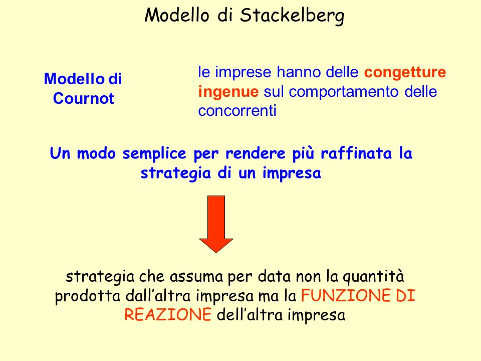 Modello di Stackelberg Modello di Cournot le imprese hanno delle congetture ingenue sul comportamento delle concorrenti Un modo semplice per rendere p