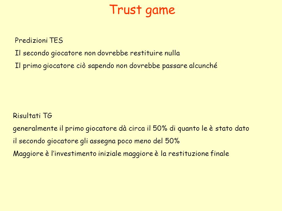 Trust game Risultati TG generalmente il primo giocatore dà circa il 50% di quanto le è stato dato il secondo giocatore gli assegna poco meno del 50% Maggiore è linvestimento iniziale maggiore è la restituzione finale Predizioni TES Il secondo giocatore non dovrebbe restituire nulla Il primo giocatore ciò sapendo non dovrebbe passare alcunché
