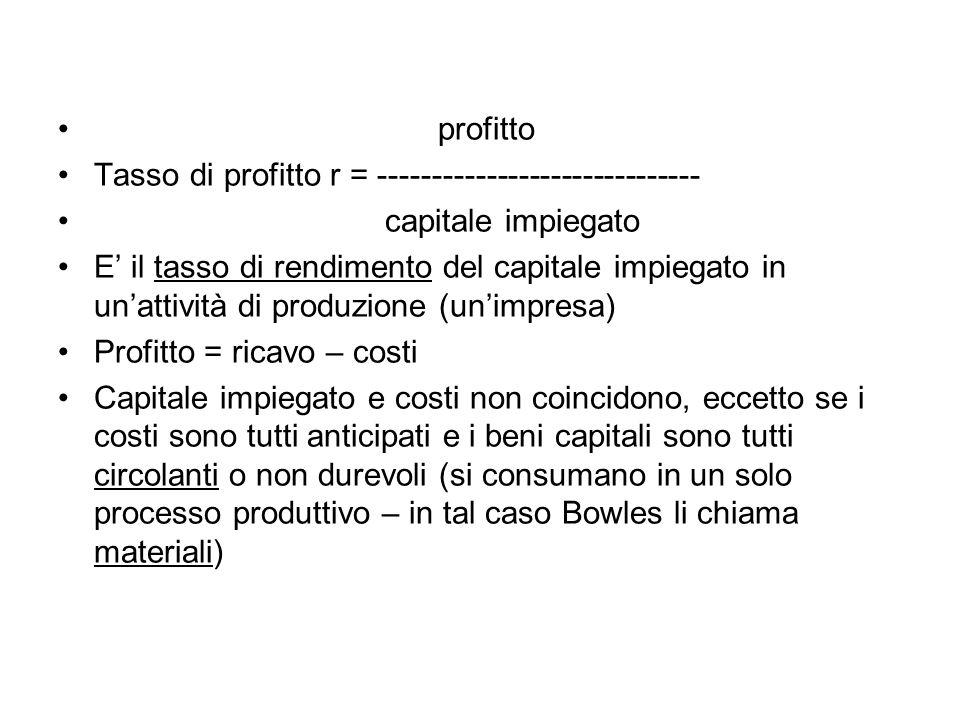 profitto Tasso di profitto r = ------------------------------ capitale impiegato E il tasso di rendimento del capitale impiegato in unattività di prod