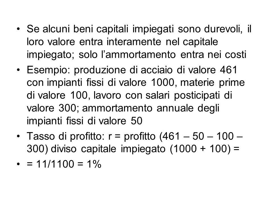 Se alcuni beni capitali impiegati sono durevoli, il loro valore entra interamente nel capitale impiegato; solo lammortamento entra nei costi Esempio: