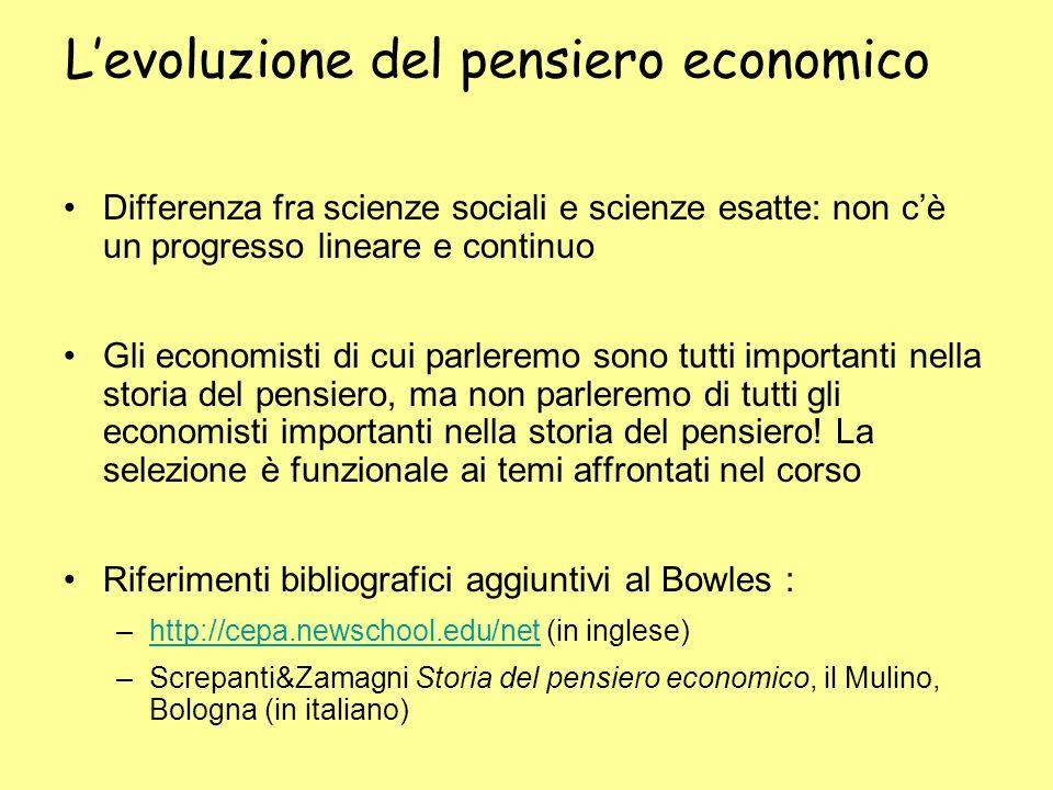 Levoluzione del pensiero economico Differenza fra scienze sociali e scienze esatte: non cè un progresso lineare e continuo Gli economisti di cui parle
