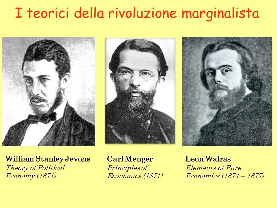 I teorici della rivoluzione marginalista William Stanley Jevons Theory of Political Economy (1871) Carl Menger Principles of Economics (1871) Leon Wal