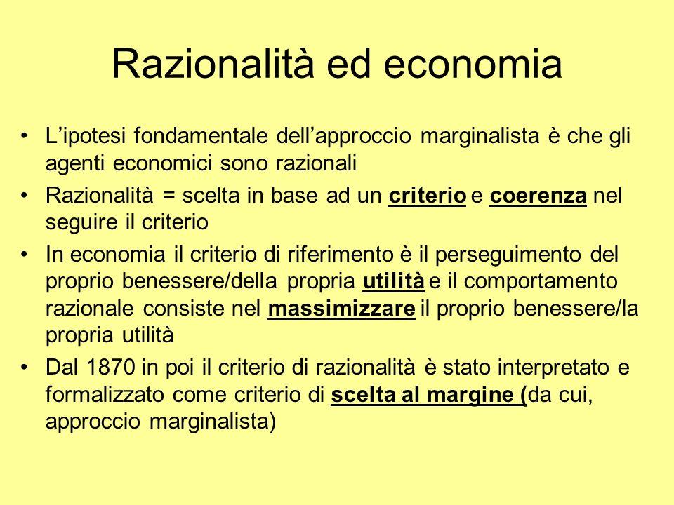 Razionalità ed economia Lipotesi fondamentale dellapproccio marginalista è che gli agenti economici sono razionali Razionalità = scelta in base ad un