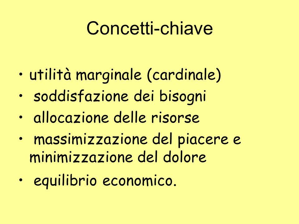 Concetti-chiave utilità marginale (cardinale) soddisfazione dei bisogni allocazione delle risorse massimizzazione del piacere e minimizzazione del dol