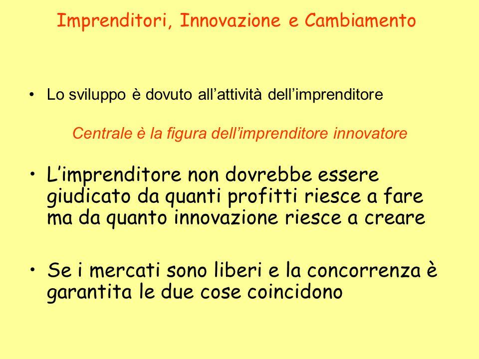 Imprenditori, Innovazione e Cambiamento Lo sviluppo è dovuto allattività dellimprenditore Centrale è la figura dellimprenditore innovatore Limprendito