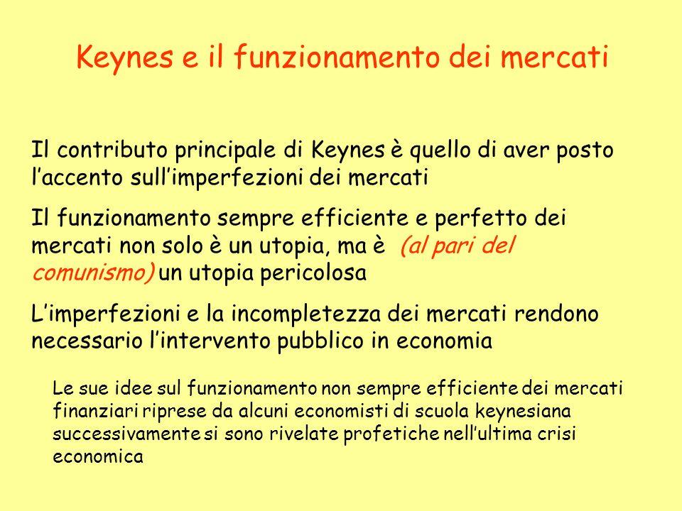 Keynes e il funzionamento dei mercati Il contributo principale di Keynes è quello di aver posto laccento sullimperfezioni dei mercati Il funzionamento