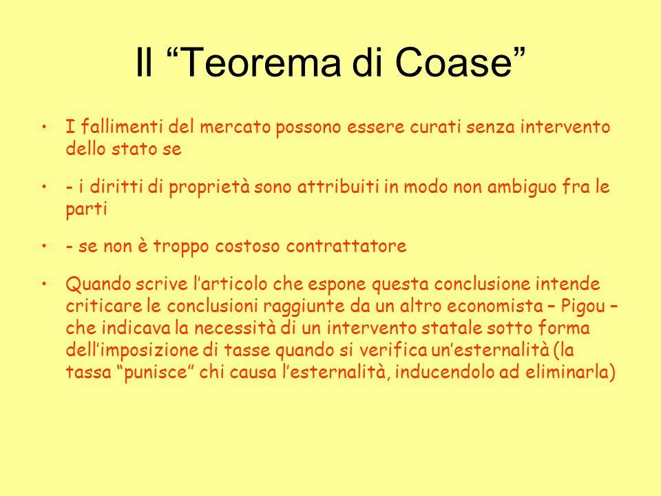 Il Teorema di Coase I fallimenti del mercato possono essere curati senza intervento dello stato se - i diritti di proprietà sono attribuiti in modo no