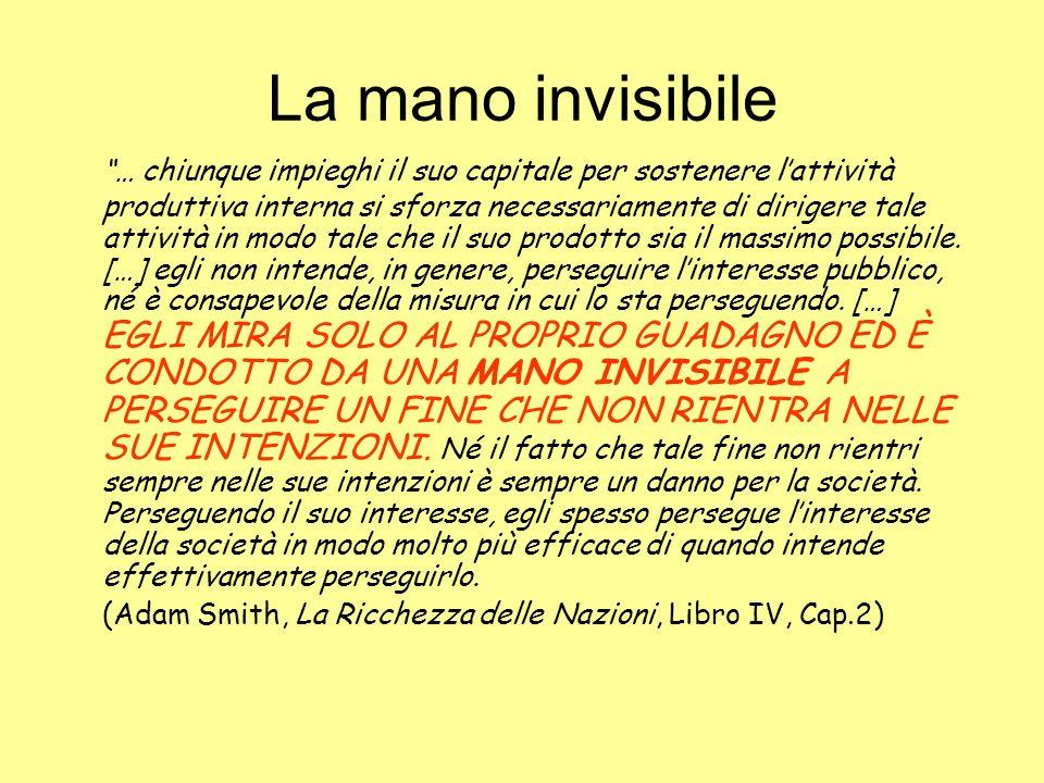 La mano invisibile … chiunque impieghi il suo capitale per sostenere lattività produttiva interna si sforza necessariamente di dirigere tale attività