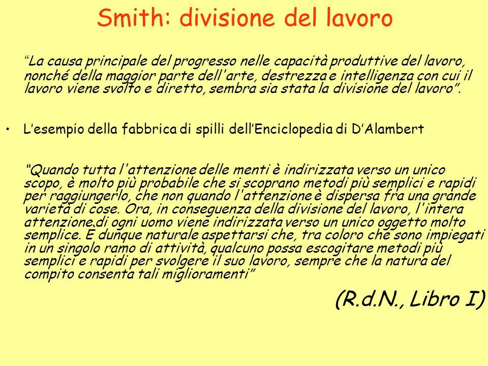 Smith: divisione del lavoro La causa principale del progresso nelle capacità produttive del lavoro, nonché della maggior parte dell'arte, destrezza e