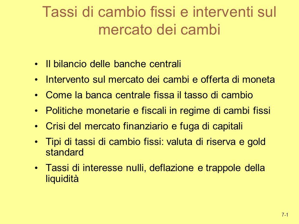 7-1 Tassi di cambio fissi e interventi sul mercato dei cambi Il bilancio delle banche centrali Intervento sul mercato dei cambi e offerta di moneta Co
