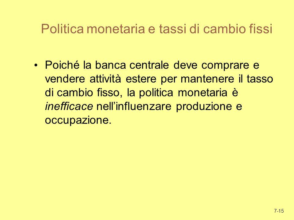 7-15 Politica monetaria e tassi di cambio fissi Poiché la banca centrale deve comprare e vendere attività estere per mantenere il tasso di cambio fiss