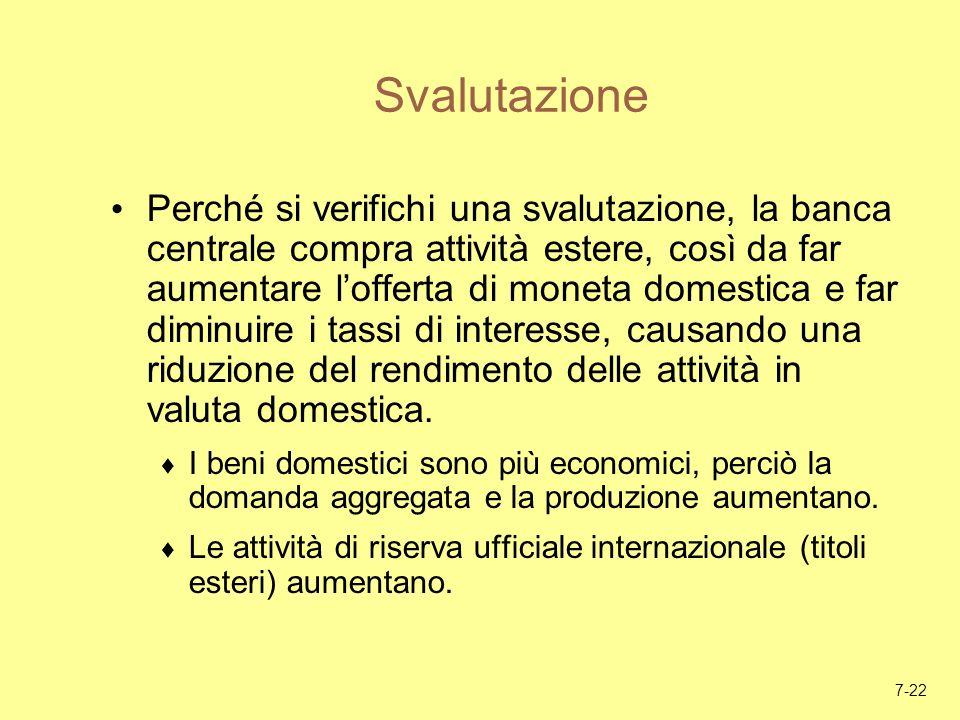 7-22 Svalutazione Perché si verifichi una svalutazione, la banca centrale compra attività estere, così da far aumentare lofferta di moneta domestica e