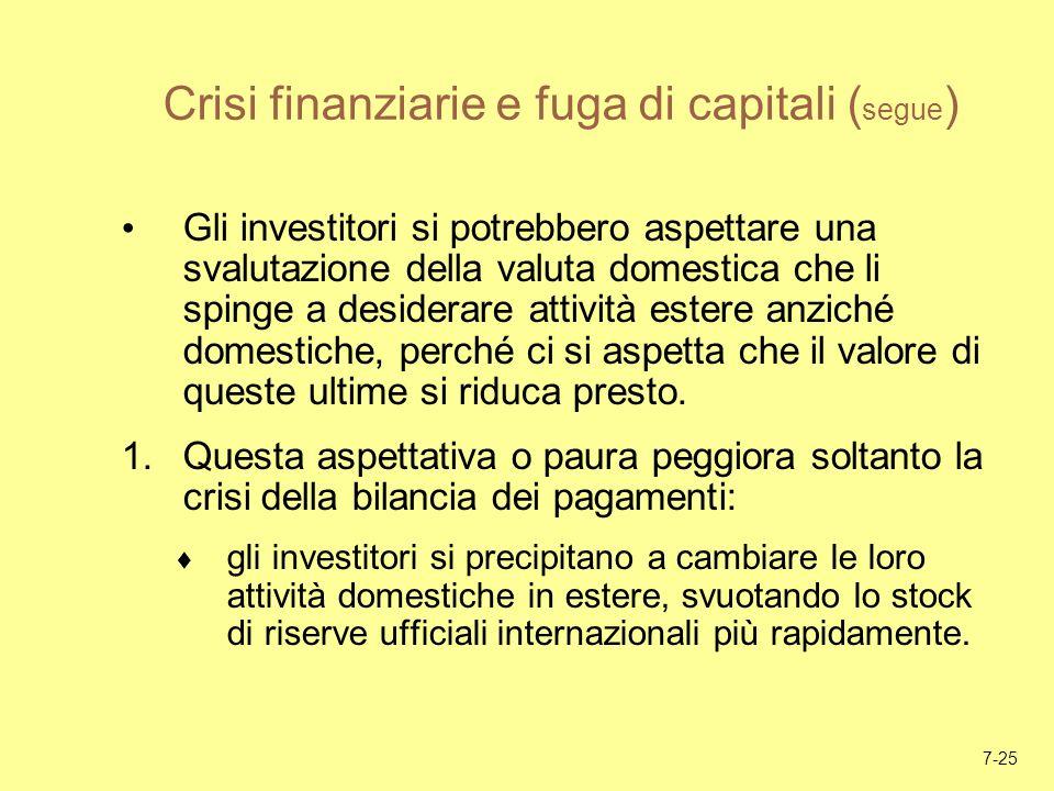 7-25 Crisi finanziarie e fuga di capitali ( segue ) Gli investitori si potrebbero aspettare una svalutazione della valuta domestica che li spinge a de