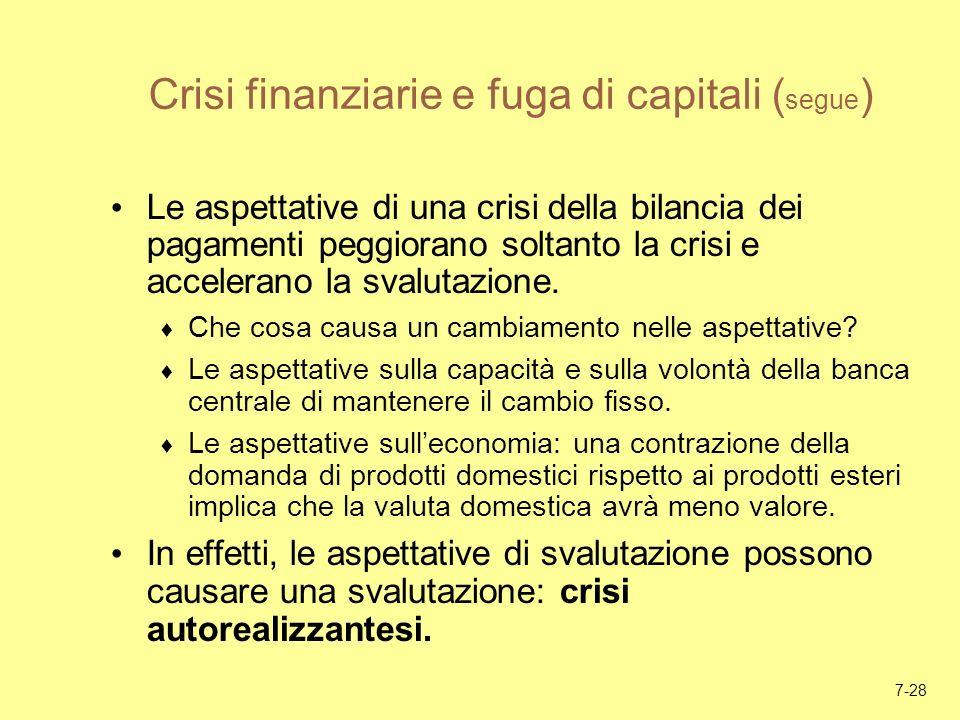 7-28 Crisi finanziarie e fuga di capitali ( segue ) Le aspettative di una crisi della bilancia dei pagamenti peggiorano soltanto la crisi e accelerano