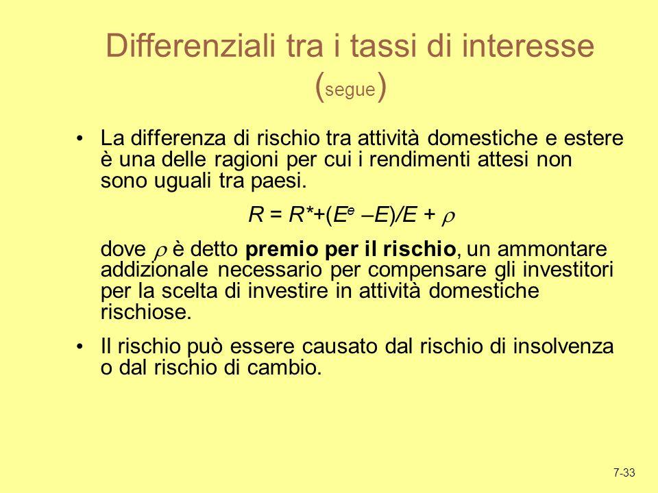 7-33 Differenziali tra i tassi di interesse ( segue ) La differenza di rischio tra attività domestiche e estere è una delle ragioni per cui i rendimen