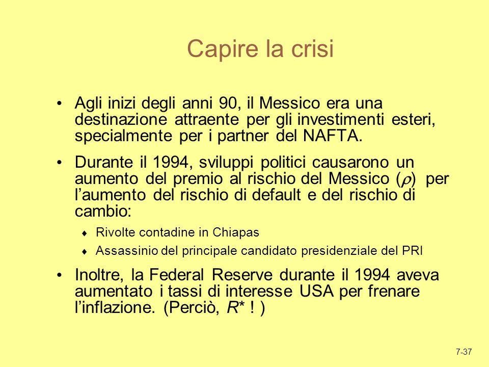 7-37 Capire la crisi Agli inizi degli anni 90, il Messico era una destinazione attraente per gli investimenti esteri, specialmente per i partner del N