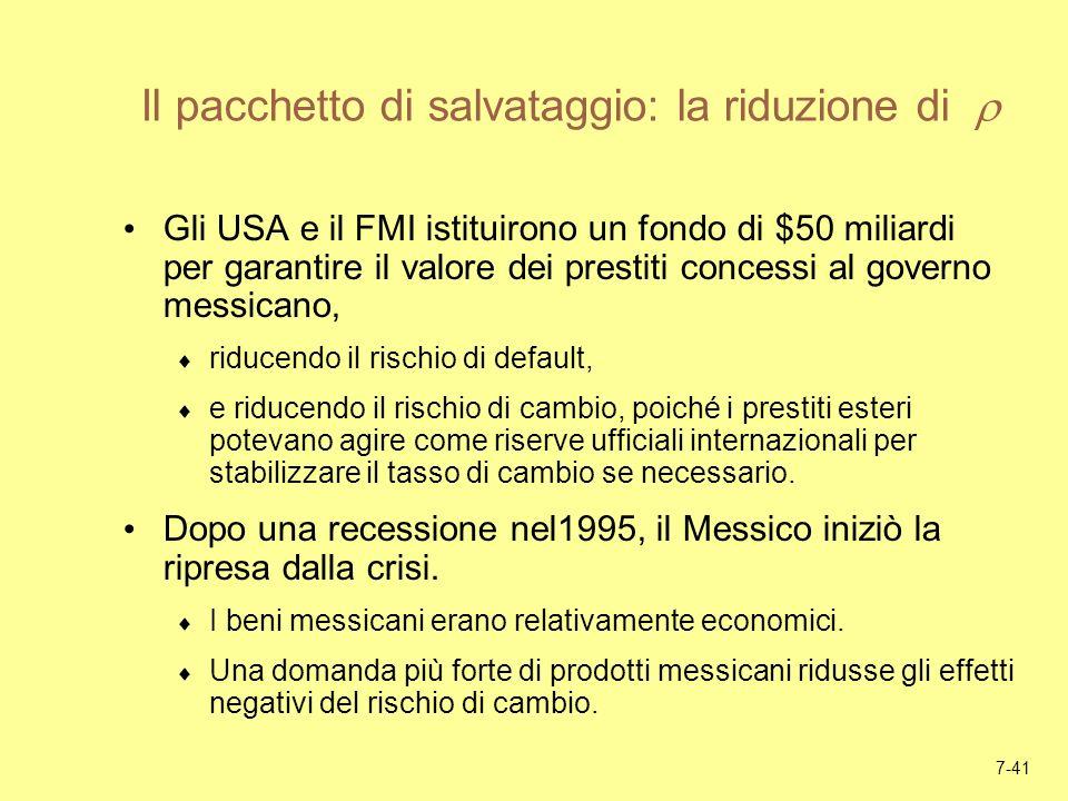 7-41 Il pacchetto di salvataggio: la riduzione di Gli USA e il FMI istituirono un fondo di $50 miliardi per garantire il valore dei prestiti concessi