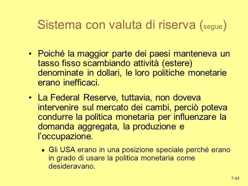 7-44 Sistema con valuta di riserva ( segue ) Poiché la maggior parte dei paesi manteneva un tasso fisso scambiando attività (estere) denominate in dol