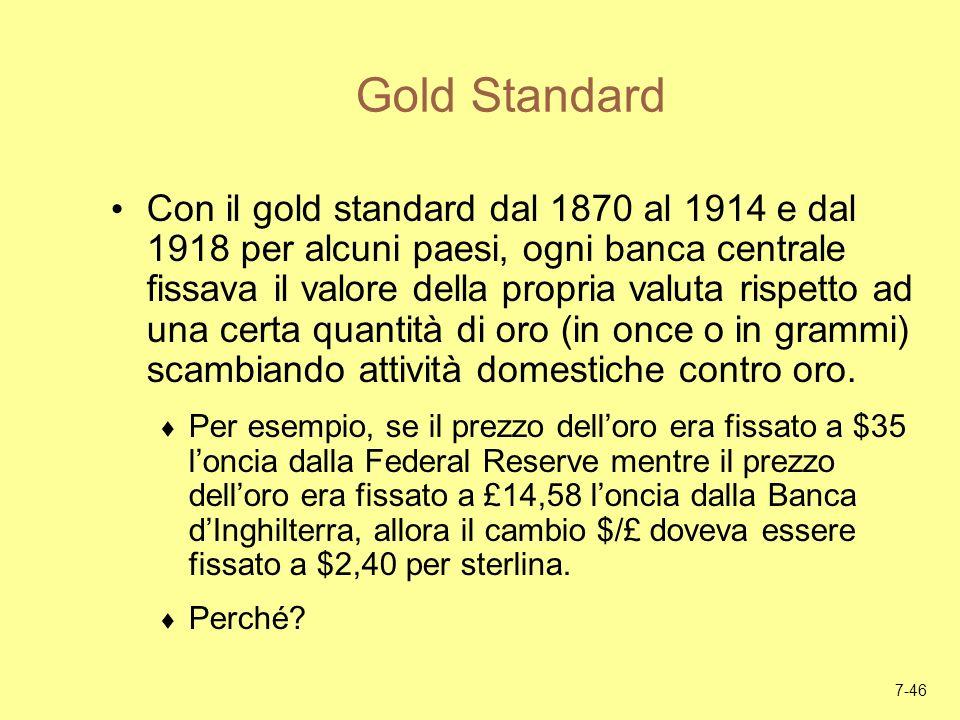 7-46 Gold Standard Con il gold standard dal 1870 al 1914 e dal 1918 per alcuni paesi, ogni banca centrale fissava il valore della propria valuta rispe