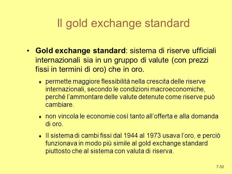 7-50 Il gold exchange standard Gold exchange standard: sistema di riserve ufficiali internazionali sia in un gruppo di valute (con prezzi fissi in ter