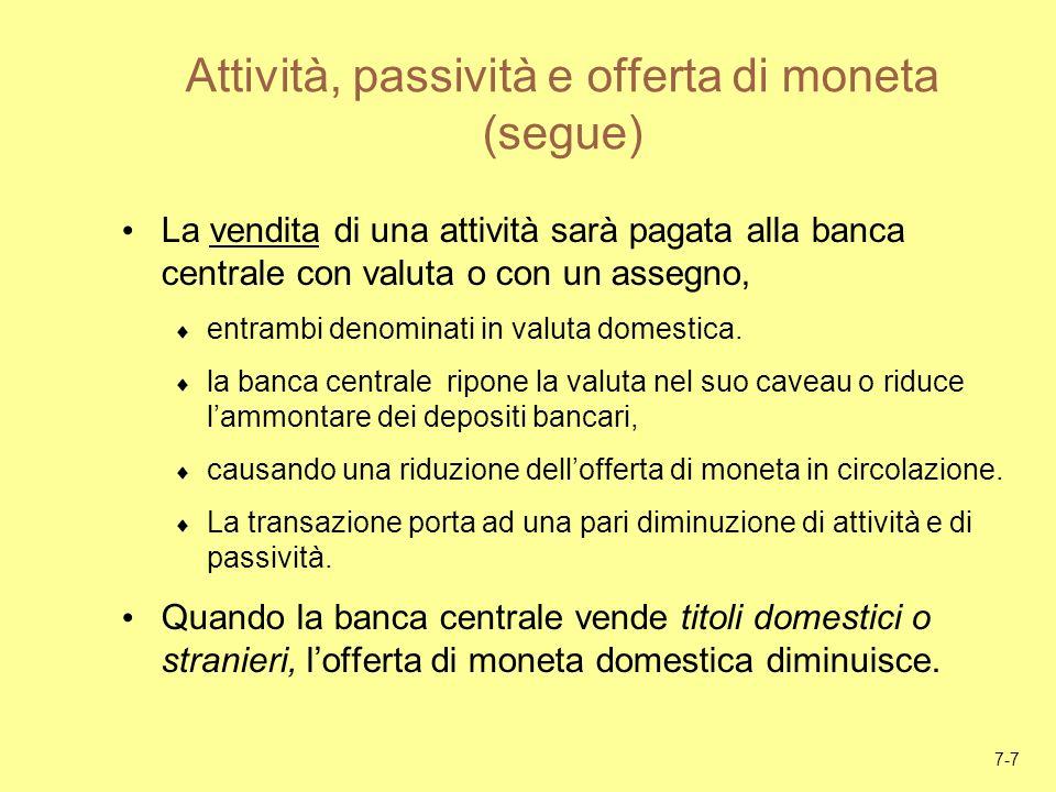 7-7 Attività, passività e offerta di moneta (segue) La vendita di una attività sarà pagata alla banca centrale con valuta o con un assegno, entrambi d
