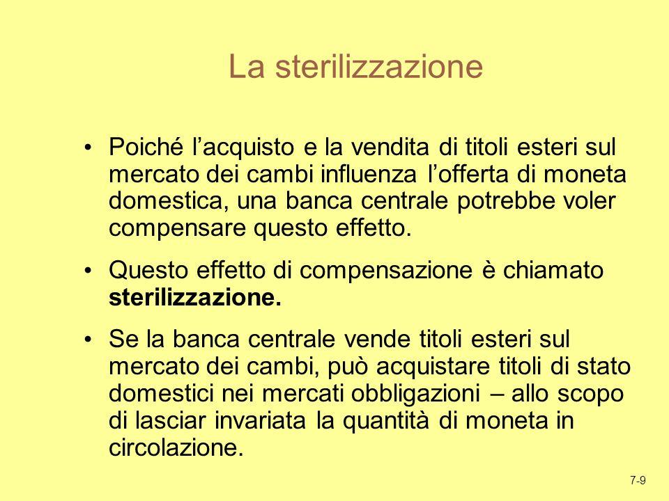 7-9 La sterilizzazione Poiché lacquisto e la vendita di titoli esteri sul mercato dei cambi influenza lofferta di moneta domestica, una banca centrale
