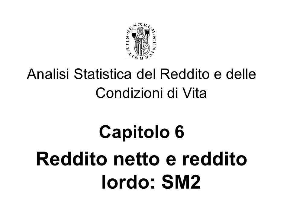 Analisi Statistica del Reddito e delle Condizioni di Vita Capitolo 6 Reddito netto e reddito lordo: SM2