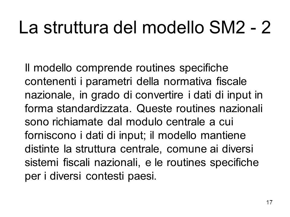 17 Il modello comprende routines specifiche contenenti i parametri della normativa fiscale nazionale, in grado di convertire i dati di input in forma