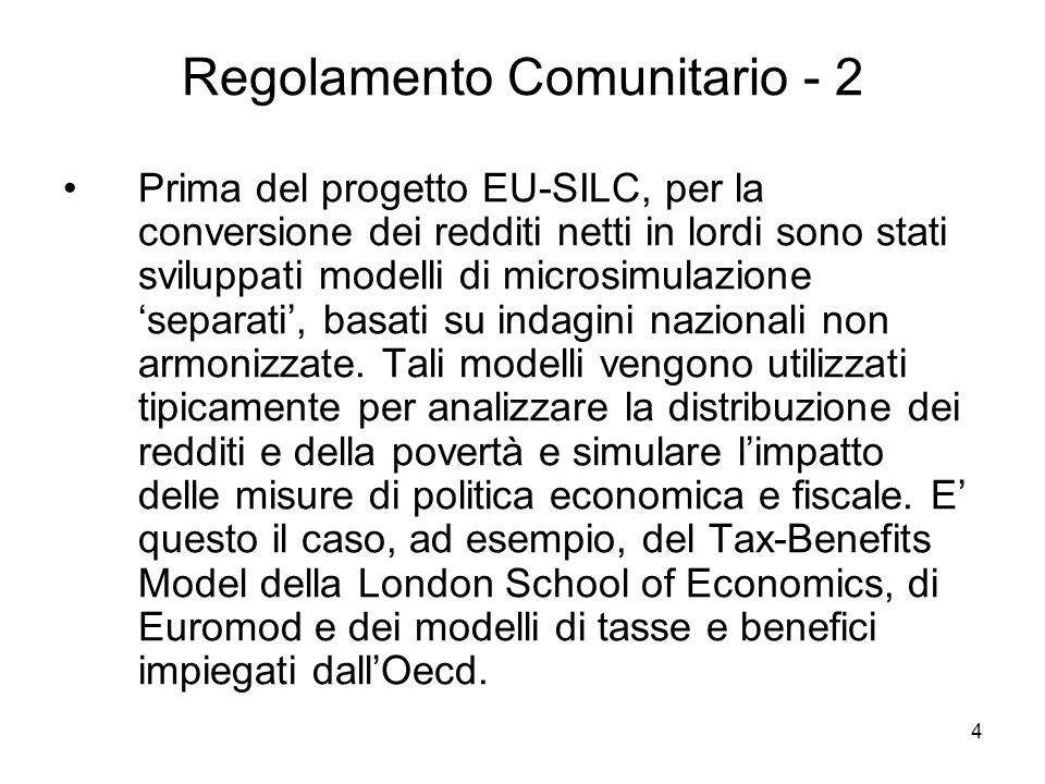 4 Regolamento Comunitario - 2 Prima del progetto EU-SILC, per la conversione dei redditi netti in lordi sono stati sviluppati modelli di microsimulazi