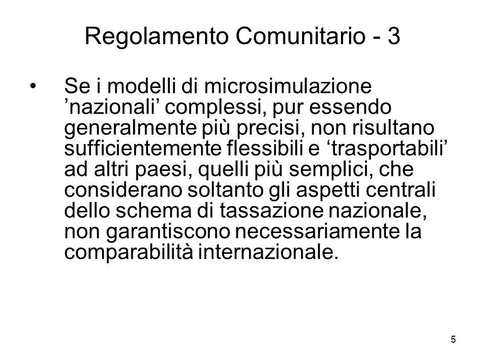 5 Regolamento Comunitario - 3 Se i modelli di microsimulazione nazionali complessi, pur essendo generalmente più precisi, non risultano sufficientemen