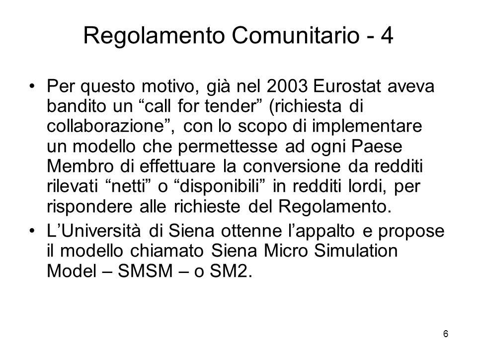 6 Regolamento Comunitario - 4 Per questo motivo, già nel 2003 Eurostat aveva bandito un call for tender (richiesta di collaborazione, con lo scopo di