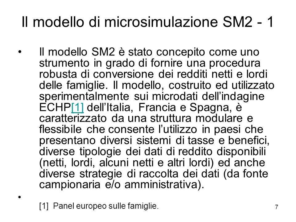 7 Il modello di microsimulazione SM2 - 1 Il modello SM2 è stato concepito come uno strumento in grado di fornire una procedura robusta di conversione