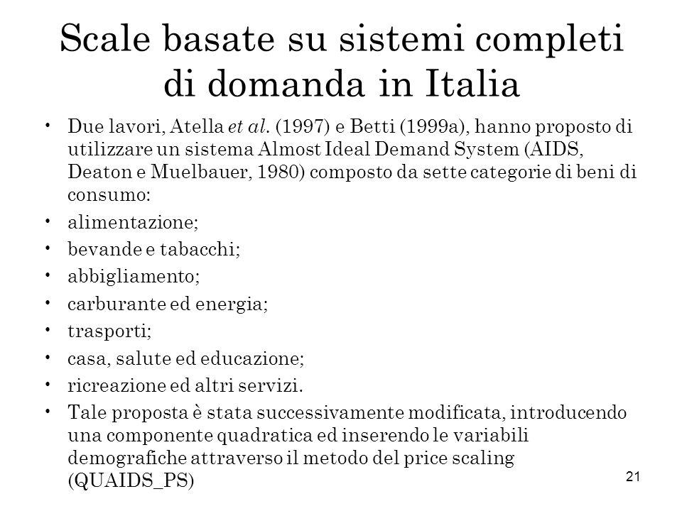 21 Scale basate su sistemi completi di domanda in Italia Due lavori, Atella et al. (1997) e Betti (1999a), hanno proposto di utilizzare un sistema Alm