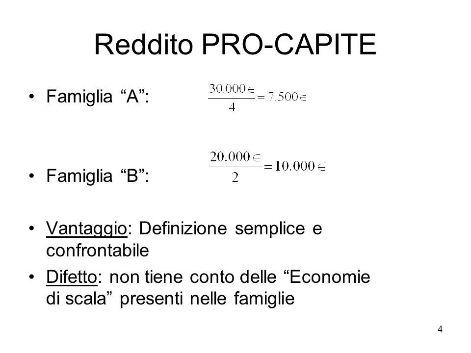 4 Reddito PRO-CAPITE Famiglia A: Famiglia B: Vantaggio: Definizione semplice e confrontabile Difetto: non tiene conto delle Economie di scala presenti