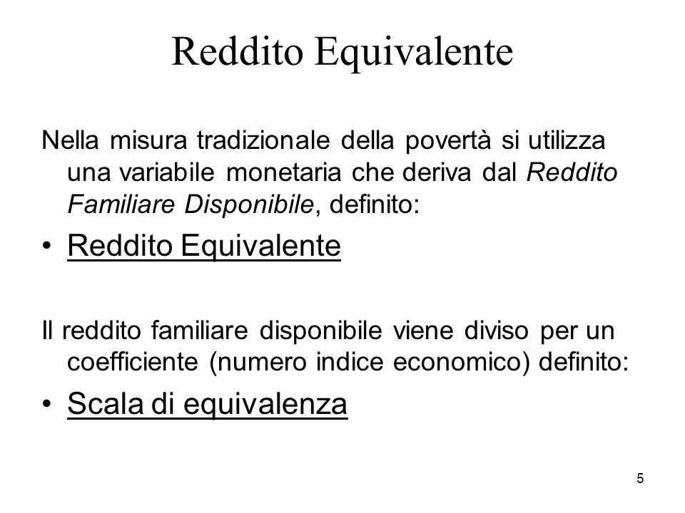 5 Reddito Equivalente Nella misura tradizionale della povertà si utilizza una variabile monetaria che deriva dal Reddito Familiare Disponibile, definito: Reddito Equivalente Il reddito familiare disponibile viene diviso per un coefficiente (numero indice economico) definito: Scala di equivalenza