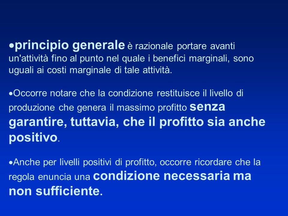 principio generale è razionale portare avanti un attività fino al punto nel quale i benefici marginali, sono uguali ai costi marginale di tale attività.
