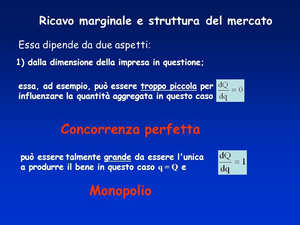 Ricavo marginale e struttura del mercato Essa dipende da due aspetti : 1) dalla dimensione della impresa in questione; essa, ad esempio, può essere tr