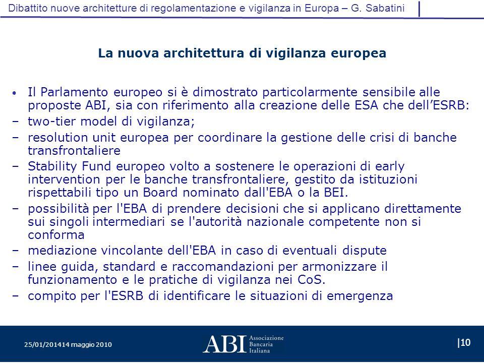 25/01/201414 maggio 2010 |10 Dibattito nuove architetture di regolamentazione e vigilanza in Europa – G.